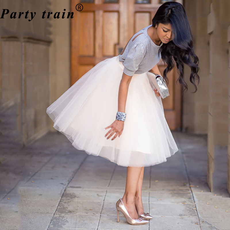 5 Layers 65cm Princess Midi Tulle Skirt Pleated Dance Tutu Skirts Womens Lolita Petticoat Jupe Saia