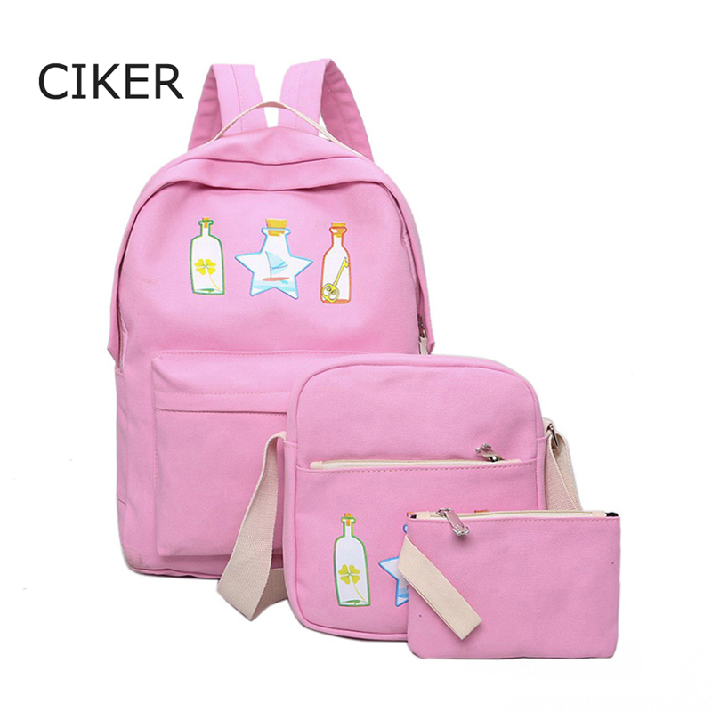 CIKER 3pcs set Casual new women canvas backpacks with drifting bottle printing backpack mochilas travel bag