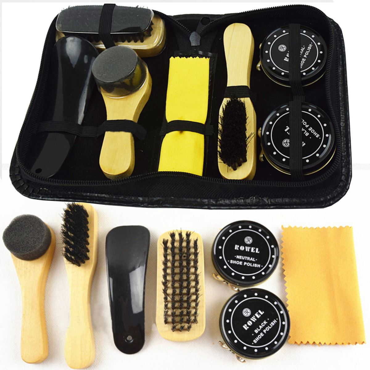 7 Pcs/Set Pro Shoes Care Kit Portable For Boots Sneakers Cleaning Set Polish Brush Shine Polishing Tool For Leather Shoes eykosi quick shine shoes sponge brush polish wax dust cleaner cleaning tool colorless