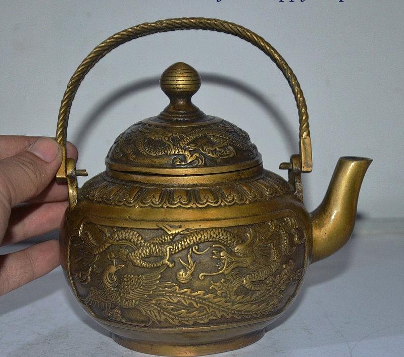 Chinese Dynasty Palace Bronze Copper Dragon Beast Emboss Wine Tea Pot FlagonChinese Dynasty Palace Bronze Copper Dragon Beast Emboss Wine Tea Pot Flagon
