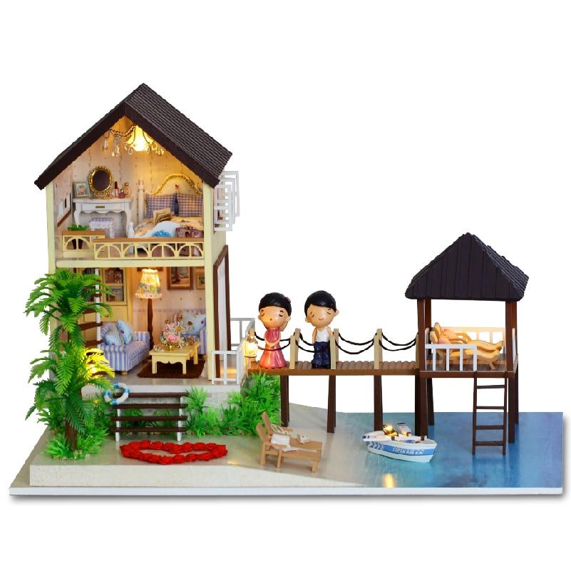 DIY Dollhouse Miniature Doll House Furniture 3D Wooden Handmade Puzzle Toys Gift For Children Maldives A027 #E wooden handmade dollhouse miniature diy kit caravan