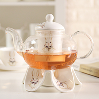 Durable Heat Resisting Glass Crystal Teapot Coffee Water Scented Tea Warmer Candle Heater Ceramic Base