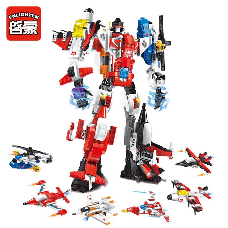 ENLIGHTEN Mecha Mecha Robot Transform Helicopter Aircraft 6 IN 1 Model Building Blocks Figure Toys For Children Compatible Legoe 1402 enlighten star wars 8 in 1 aircraft carrier ship tank model building blocks diy figure toys for children compatible legoe
