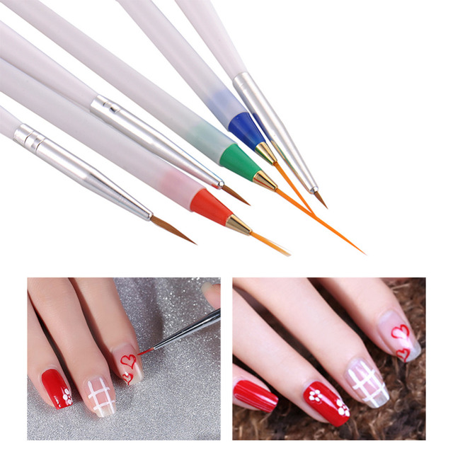 6Pcs/Pack DIY Nail Art Pencil Paint Brushes Color Drawing Line Pen ...