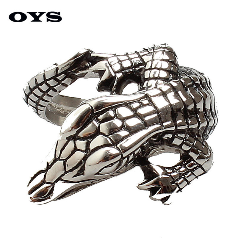 European Punk Retro Crocodile Ring Stainless Titanium Steel Casting Jewelry High Quality Mens Stainless Steel Ring