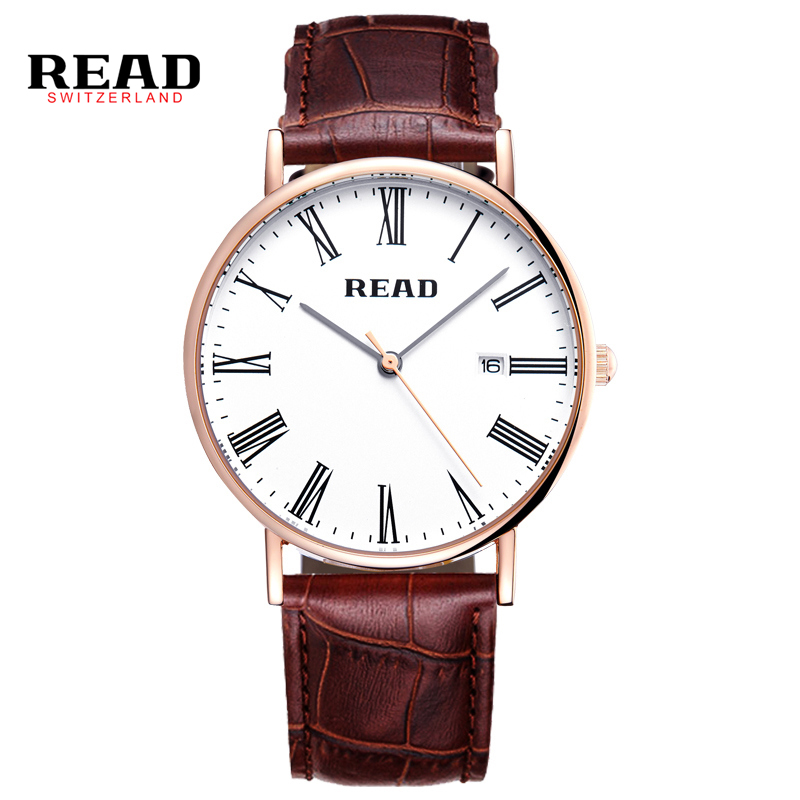 READ men watch Luxury Genuine Calf Leather ultrathin Lovers Watches Business And Casual Quartz Wristwatch With Auto Date 2021