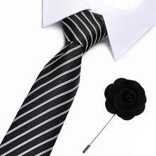 Business Suits Male Neck wear Tie Popular Mens Cravats Brand Polyester Jacquard Striped Ties Neckties Blue Pin Set