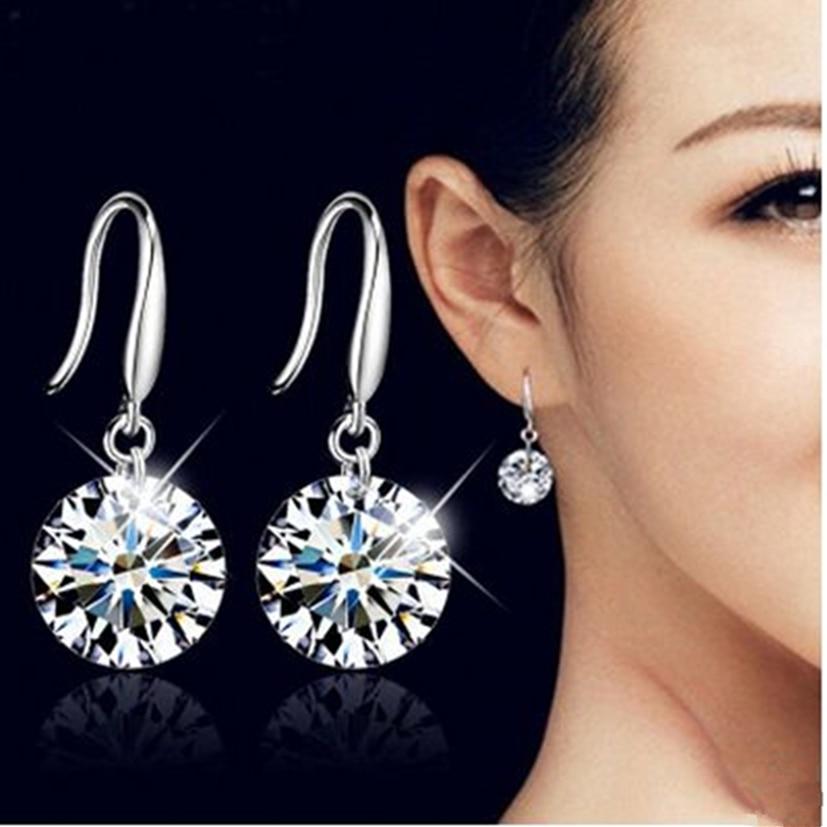 New Sleek Minimalist Silver Ladies Earrings Crystal Cubic Zirconia Pendant Earrings Stone Pendientes Mujer Moda
