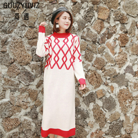 GUUZYUVIZ Autumn Winter Long Sleeve Vestiti Donna Casual Loose Vintage Pullover Plaid Knitted Sweater Dress Red Green Long Dress