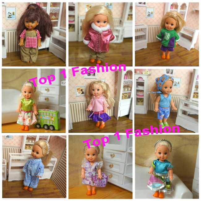 2014 New arrvial wholesales 10pcs fabric and costume for mini kelly simba barbie doll