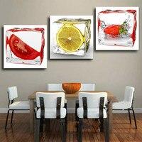 Com Fruta Home Decoração Da Parede Abstrata Moderna Pintura A Óleo Emoldurado Pintura em Spray Sobre a Arte Da Lona Fotos de Morango Limão