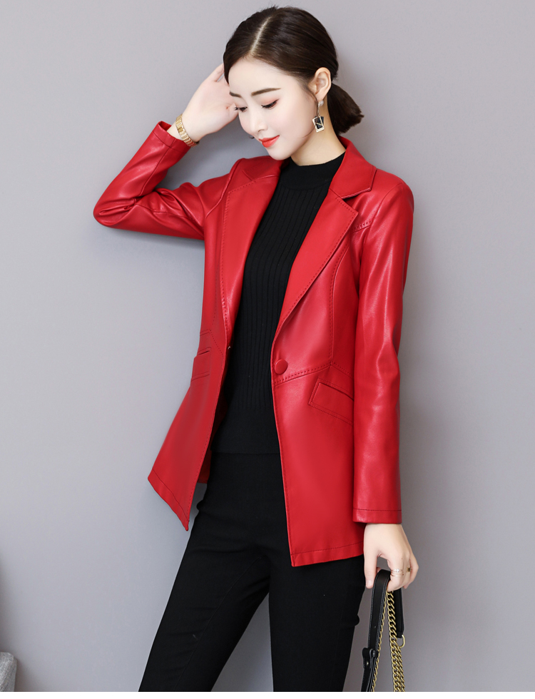 M-5XL Black Red Purple Yellow Solid Color Slim All-match Woman Lady Clothes Pu   Leather   Casual Blazer Coat Plus Size Popular