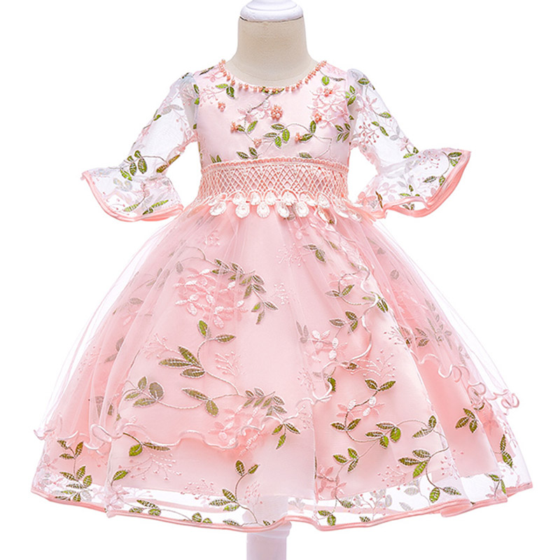 Retail Beading Necklace Princess Half Sleeves Evening Party Gown   Dress   Embroidery Elegant Lace   Flower     Girls     Dress   L5015