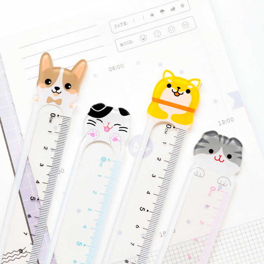 15cm Transparent Cartoon Animal Plastic Ruler Measuring Tool Kids Stationery Kawaii Bookmarks Straight Ruler Drafting Supplies
