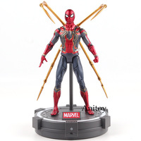 Avengers Infinity War Action Figure Marvel Iron Spider Spiderman Figurine with LED Light PVC Collectible Model Toys 17cm