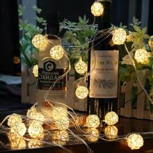 5 м Светодиодные теплые белые вечерние гирлянды для свадьбы, сада, хлопковый светильник, 220 В/110 В, Рождественский Сказочный декоративный светильник, Ротанговые шары, лампа 5