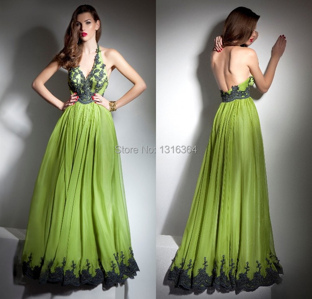 New Fashion Olive Green Appliques Halter Evening Dress Long Open
