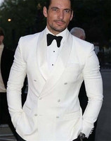 White Double Breasted Beach Summer Wedding Men Suit Custom Made Men Suits Slim Fit 2 PCs Jacket+Pants For Wedding Party Tuxedos