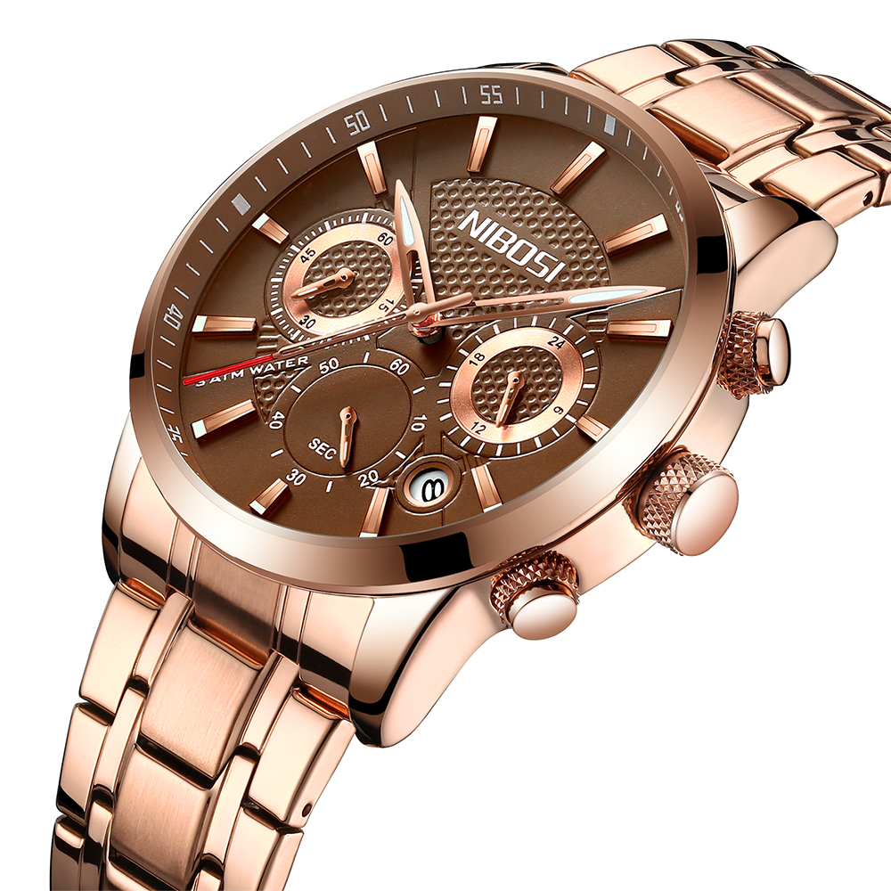 Nibosi Luxury Brand Watches Men Fashion Casual Quartz Watch Steel Strap Men Sports Wristwatch Male Clock Relogio Masculino nakzen men watches top brand luxury clock male stainless steel casual quartz watch mens sports wristwatch relogio masculino
