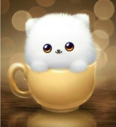 5 D Cartoon Diamond Painting Cross Stitch Cup Small Cute Cat Puppy Kitten Animal Series Living
