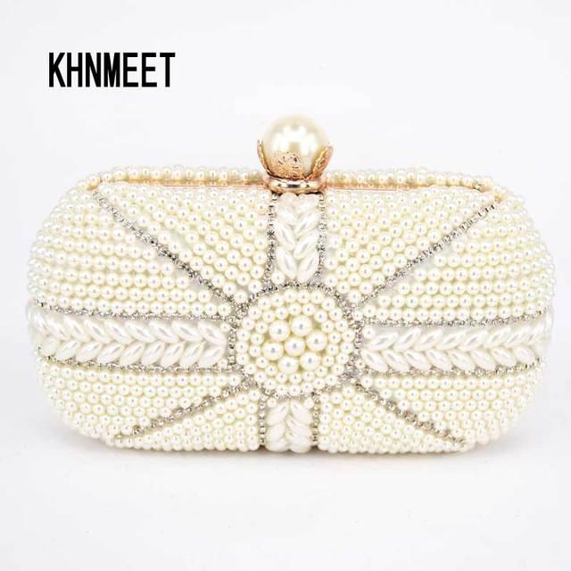 White Pearl Wedding Clutches Women Luxury Clutch Bag Black Elegant Evening  Bridal Purses Beaded Bags Designer Handbags G807 0479e9b7310f