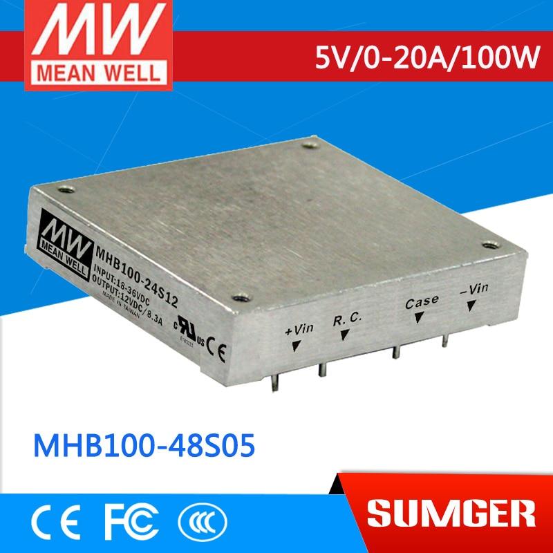 все цены на 1MEAN WELL original MHB100-48S05 5V 20A meanwell MHB100 5V 100W DC-DC Half-Brick Regulated Single Output Converter онлайн