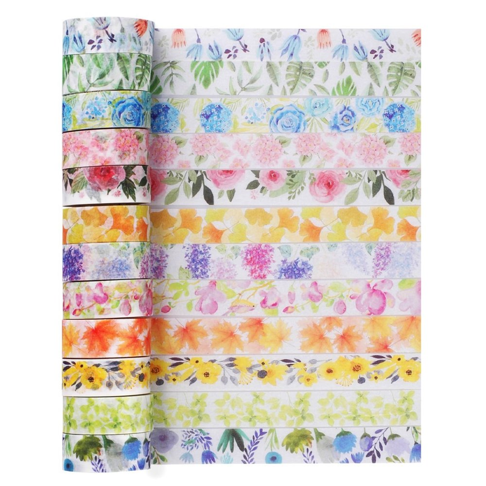 Romantic Floral Paper Washi Tape 15mm*7m Flowers Masking Tapes Decorative Stickers DIY Stationery School Supplies 3