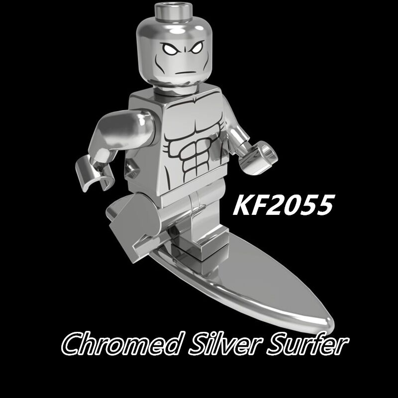 Single Sale Golden Series Astronaut Figures Chromed Silver Surfer Super Heroes Building Blocks Chidren Toys Model Bricks KF2055
