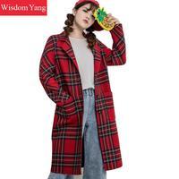 Elegant Womens Wool Coats White Black Red Plaid Woman Winter Warm Female 2018 Woolen Ladies Overcoat Houndstooth Coat Outerwear