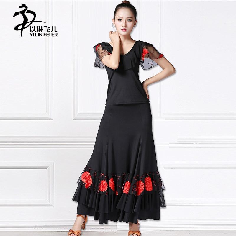 Fashion Womens Paillette Tango Waltz Modern Dance Ballroom Dance Long Skirt &Top/Ballroom Dance Competition Dresses