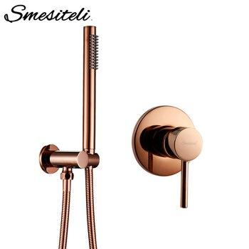 Smesiteli Rose Gold Handheld Shower Head Hose Bracket Holder With Valve Kit Solid Brass Polished Bathroom Set