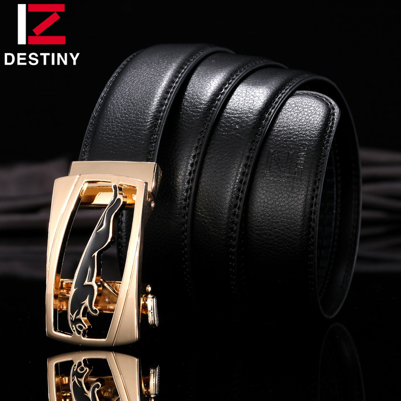 DESTINY New Designer Belts Men High Quality Leather Belt Luxury Famous Brand Male Genuine Leather Strap Automatic Buckle Leopard