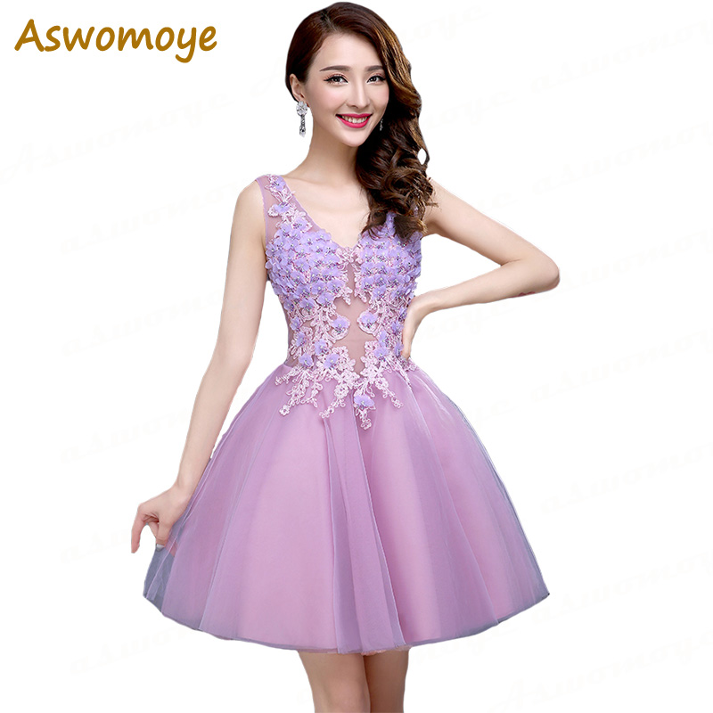Short Homecoming Dress 2018 New Stylish Sexy Illusion V Neck Beading Dress Party Flower Above Knee Backless Custom Size
