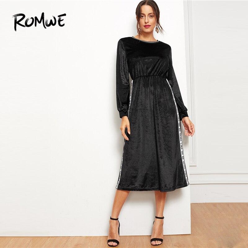 33a7bc241f8c ROMWE Black Contrast Letter Tape Side Velvet Dress 2019 Stylish Long Sleeve  Round Neck Dress A Line Comfortable Women Dress