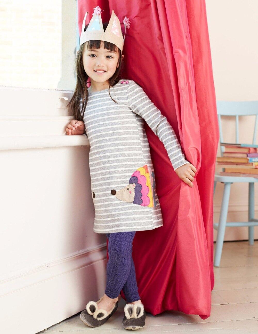 Girls Long Sleeve Casual Wear Dress Applique Embroidery Children
