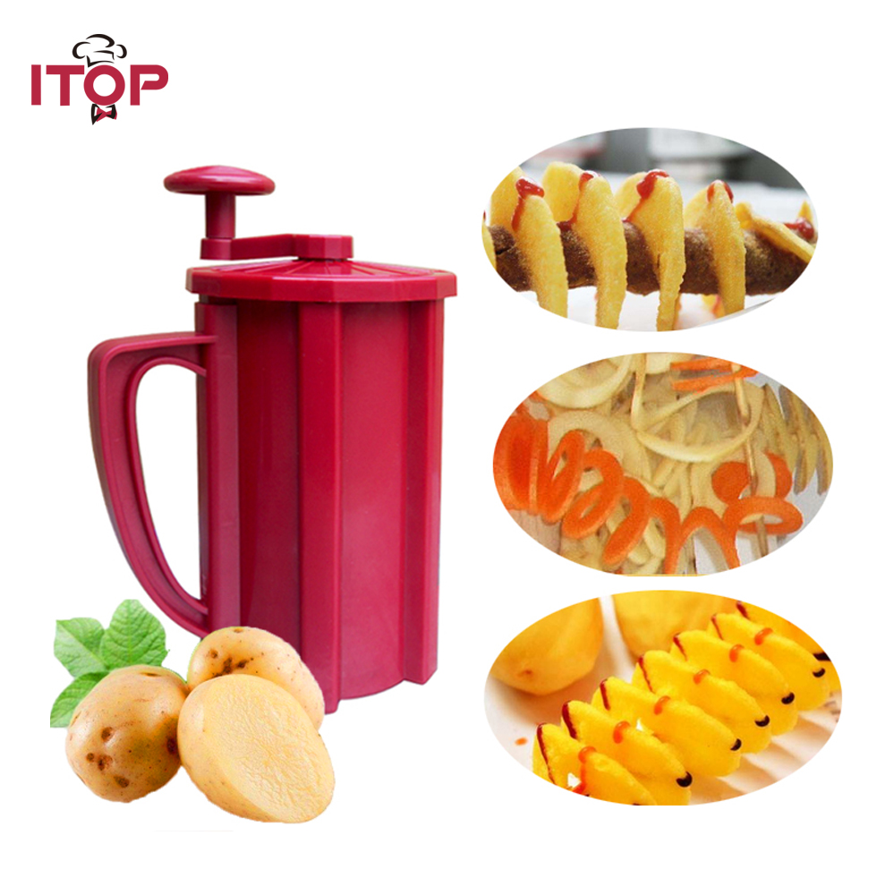 Tornado Potato Slicer Carrot Cutter Vegetable Cutting Machine Red ABS Plastic oxygen winner tornado