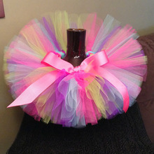 Multicolor Baby Girls Tutu Skirts Infant 100% Handmade Fluffy Ballet Dance Tutus Pettiskirts with Ribbon Bow Kids Party Skirts