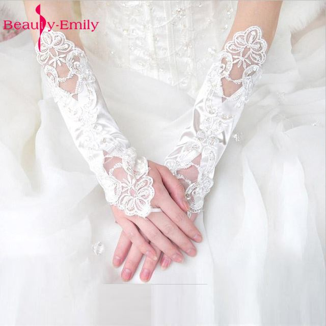 Beauty-Emily Cheap Long White Lace Wedding Bridal Gloves Beaded Sheer Sequined Appliqued High Quality Bride Glove Women Mariage