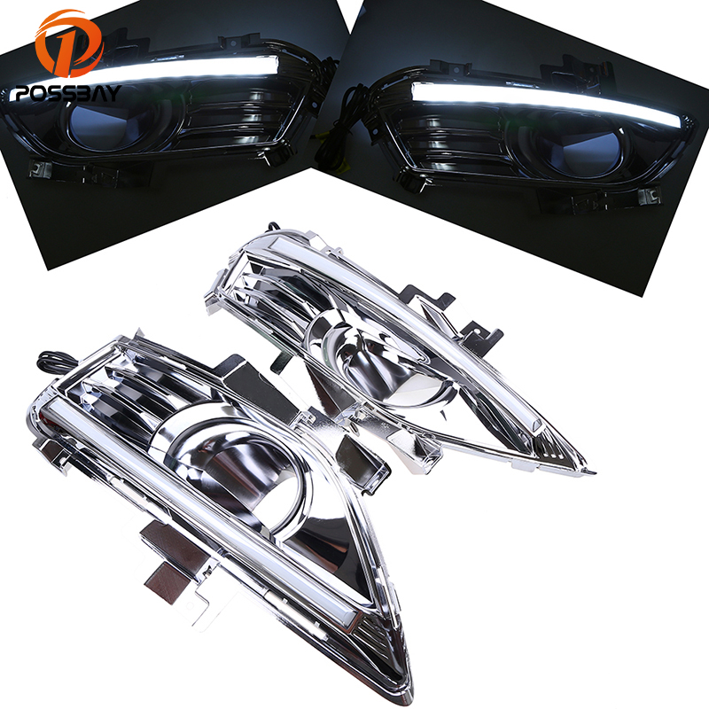 POSSBAY LED DRL Daytime Running Lights DRL Chrome Fog Lights Cover for Ford Mondeo Fusion 2013 2014 2015 2016 Pre-facelift eonstime 2pcs 12v car drl led daytime running light fog lights for ford mondeo fusion 2013 2014 2015 2016 car styling