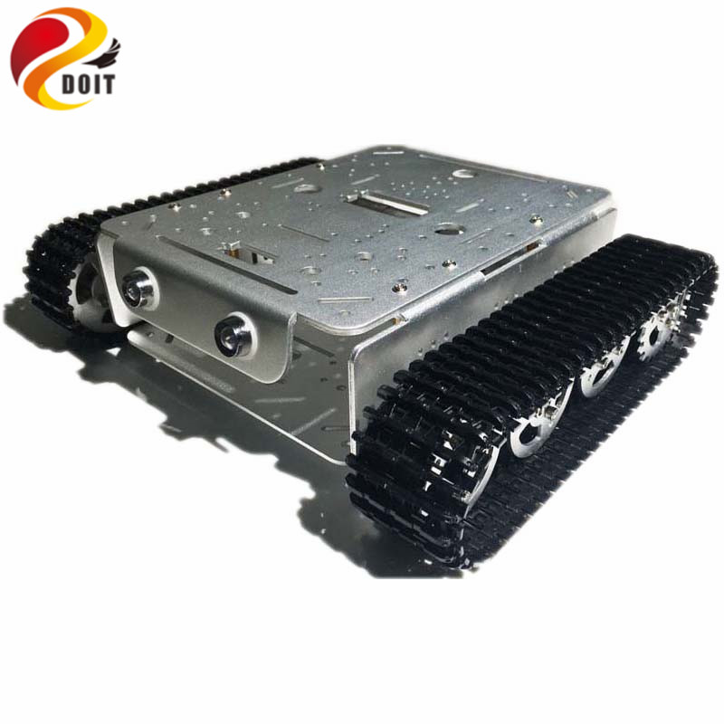 DOIT 4WD Robot Tracked Tank Chassis with Aluminum Alloy Wheels/Frame 2 Motors for Modification Tank Model Robot Project RC Toy