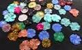 50 pcs filigraan ronde kralen bloem fluoriet rose petal gesneden synthetiseren steen, jade sieraden 16 30mm