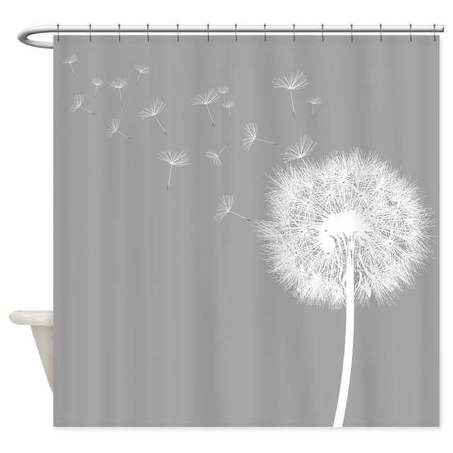 Memory Home Fabric Gray Shower Curtain For Bathroom Waterproof Polyester Dandelion Pattern
