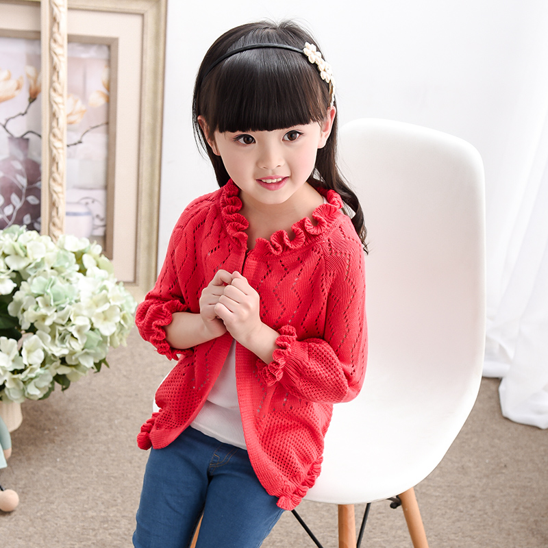 Baby Girls Cardigan Long Sleeve Boys Knitted Sweater Coat Candy Color Children Single Breasted Jacket Embroidery