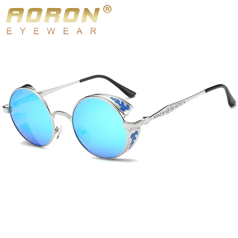 polarized mirrored aviator sunglasses 28wk  AORON Brand Gothic Steampunk Women Polarized Sunglasses Coating Mirrored  Sunglasses Round Sun Glasses Vintage Sol Eyewear