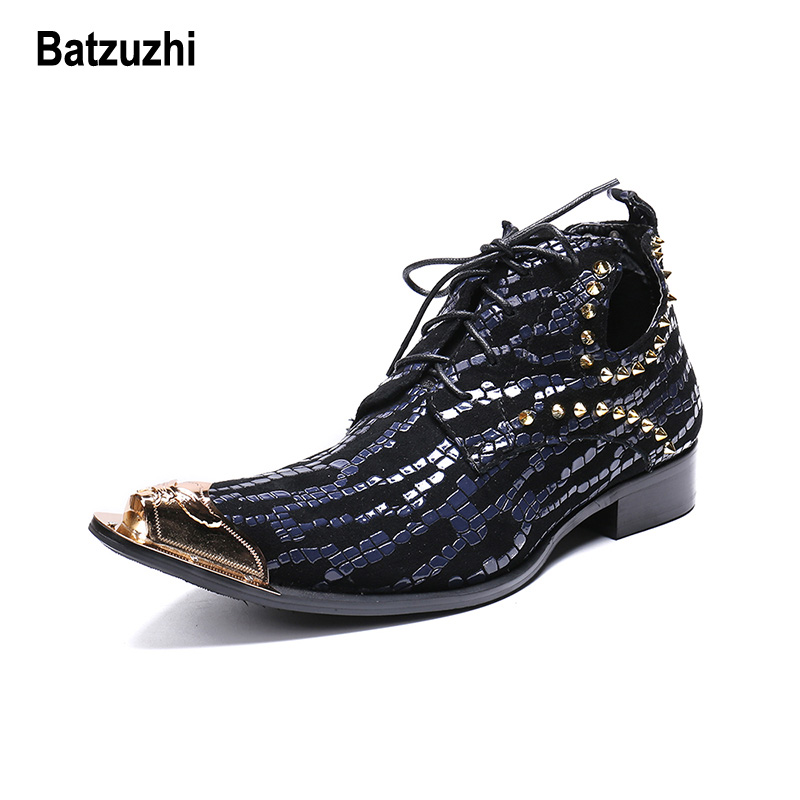 Batzuzhi Italian Handmade Men Shoes Pointed Metal Tip Black Blue Leather Ankle Boots Man Lace-up Rivets Party botas hombre,US12Batzuzhi Italian Handmade Men Shoes Pointed Metal Tip Black Blue Leather Ankle Boots Man Lace-up Rivets Party botas hombre,US12