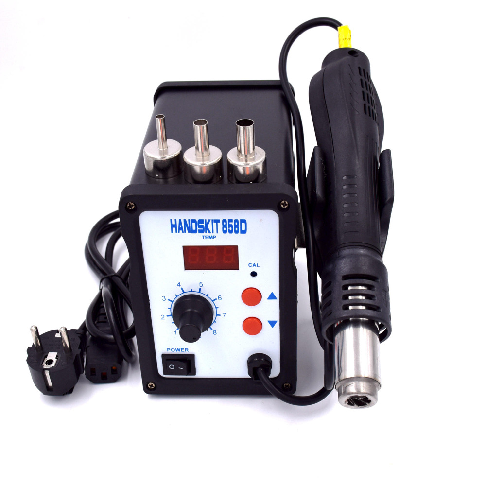 858D Hot Air Gun Rework Station Soldering Iron Station 700W 220V Heat Gun Blow Dryer for BGA IC Desoldering Tool Free Shipping yihua 898d led digital 700w lead free smd desoldering soldering station hot air soldering station