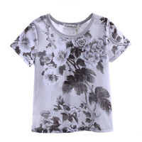 New Design Boys White Gray T-shirt With Flower Printings Summer Outwear Children Tops Baby Kids Clothing BT90311-002L