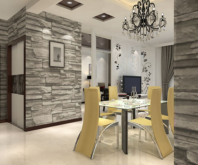 Chinese Style Dining Room 3D Wallpaper Stone Brick Design Background Wall Vinyl Modern For Living Wallcovering In Wallpapers From Home