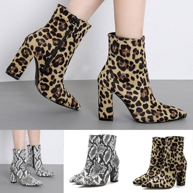 Botas de piel de serpiente con punta de leopardo con cierre grueso y puntiaguda para mujer, botas de invierno para mujer, botas de nieve clásicas