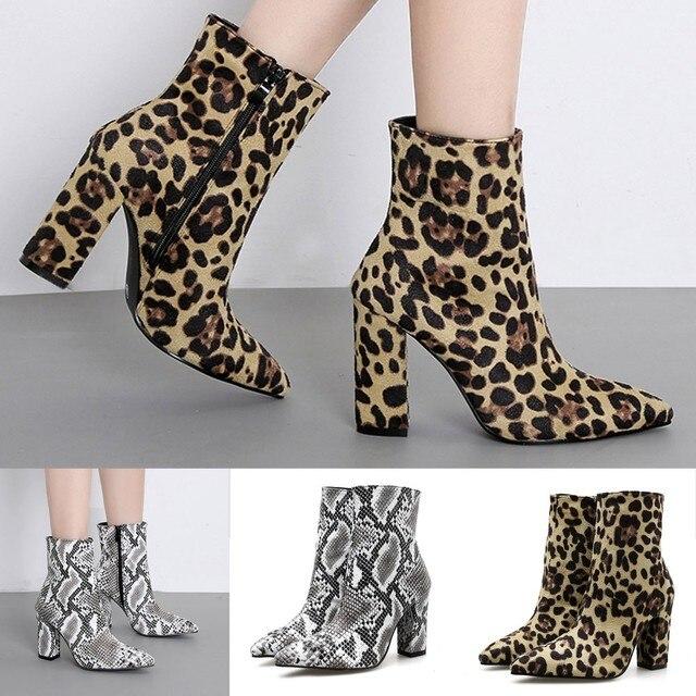 Kadın Yılan Derisi Leopar Ayak Zip Kalın Sivri Çizmeler Ayakkabı Yüksek Ayakkabı Çizmeler Kadın kış Lady Kar Botları Moda Klasik Hotsell